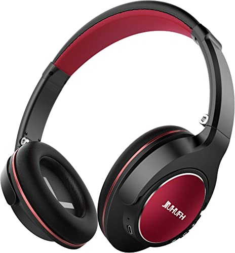 JIUHUFH Wireless Headphones Over Ear, Closed Back HiFi Headphones W 20-Hrs Playtime, Lightweight Foldable Stereo Bluetooth Headset W Mic Compatible with iPhone Android Phone Tablet iPad – Black Red