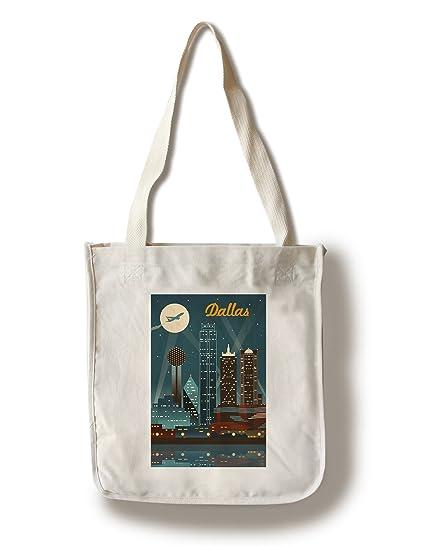 7507f6fbe Amazon.com: Lantern Press Dallas, Texas - Retro Skyline (100% Cotton Tote  Bag - Reusable): Posters & Prints