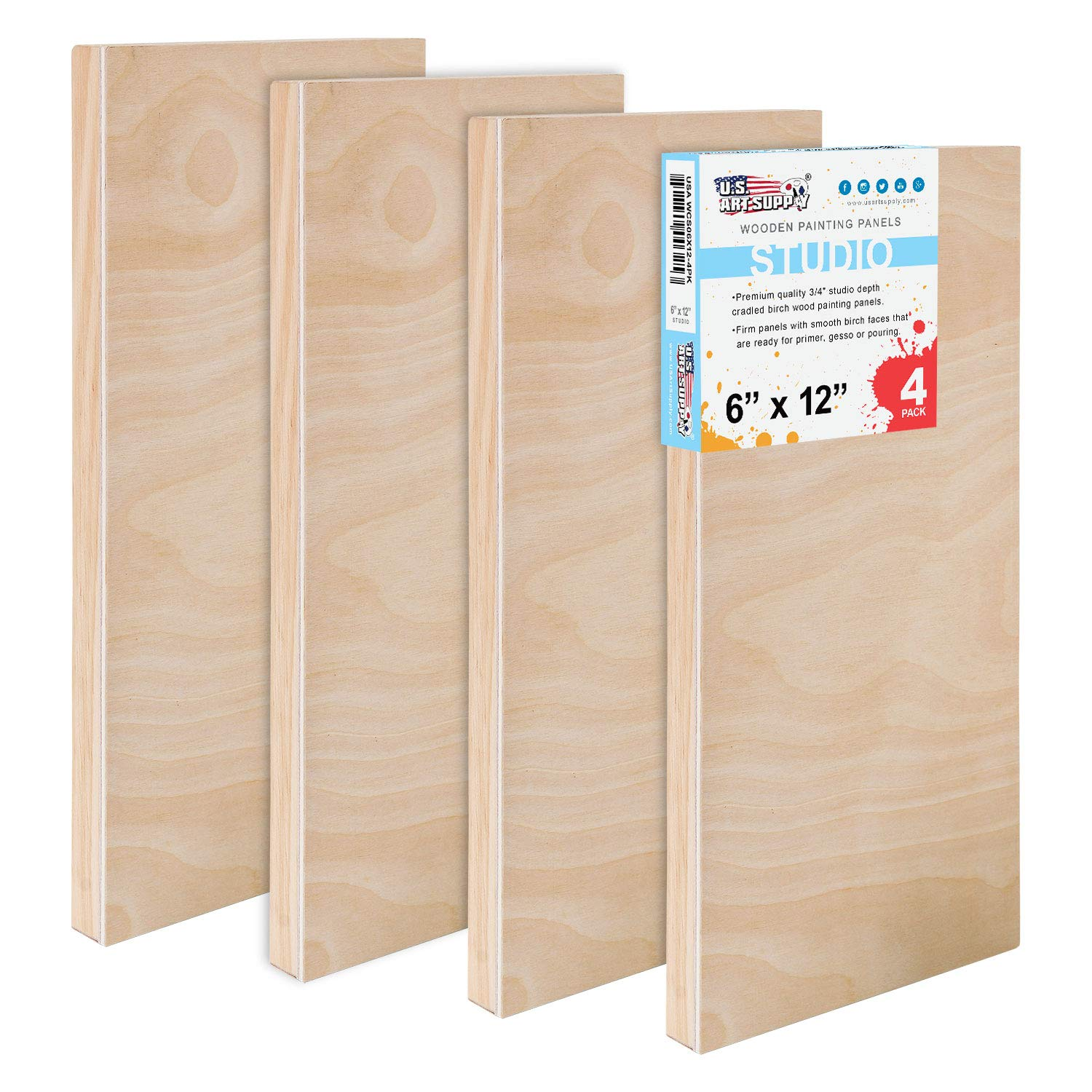 U.S. Art Supply 6'' x 12'' Birch Wood Paint Pouring Panel Boards, Studio 3/4'' Deep Cradle (Pack of 4) - Artist Wooden Wall Canvases - Painting Mixed-Media Craft, Acrylic, Oil, Watercolor, Encaustic