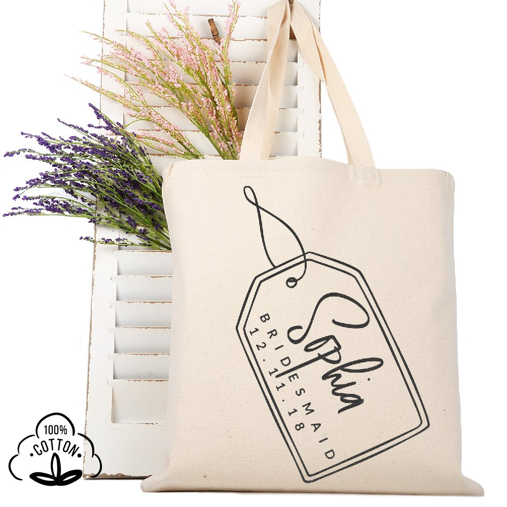 Personalized Tote Bag Natural Cotton Wedding Bridal Party | DSG#9 | set of 6
