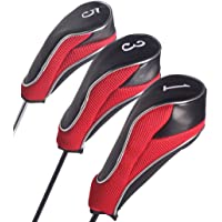 Andux Golf Driver Wood Head Covers for 460cc Driver with Zipper Closure Set of 3