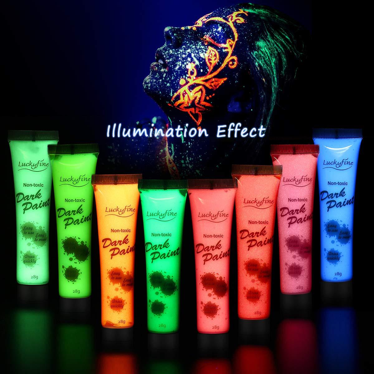 Vernice Fluorescente,Y.F.M, colori fluorescenti, Nero di luce corpo colore per Body e Face Pai, Glow Effetto, 8 Colori Diversi - Neon Glow Fluo,Halloween Y.F.M.