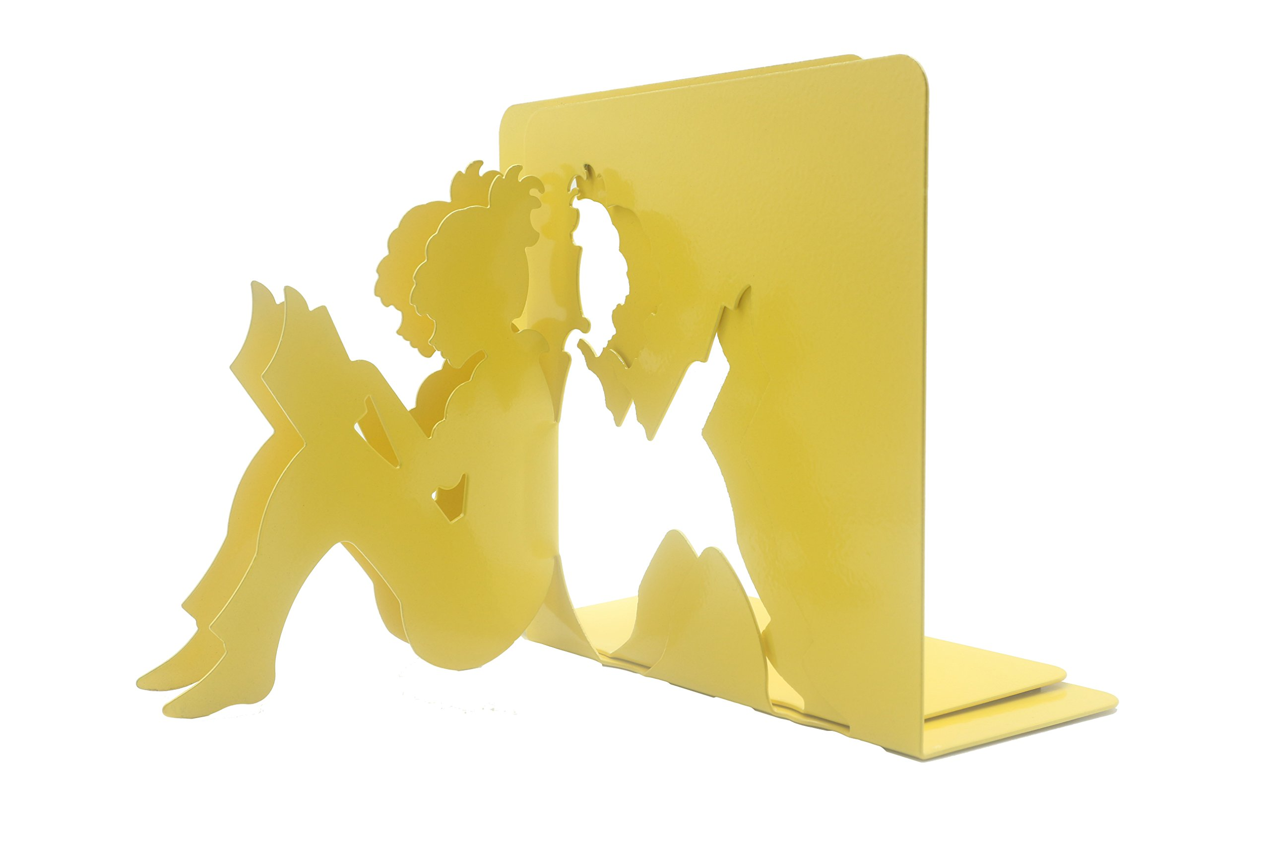 Y-H 3D Paper-cut Little Girl Is Reading Metal Bookends Book Ends For Kids Teachers Students Study Gift School Library Home Desk Office Decoration (yellow)