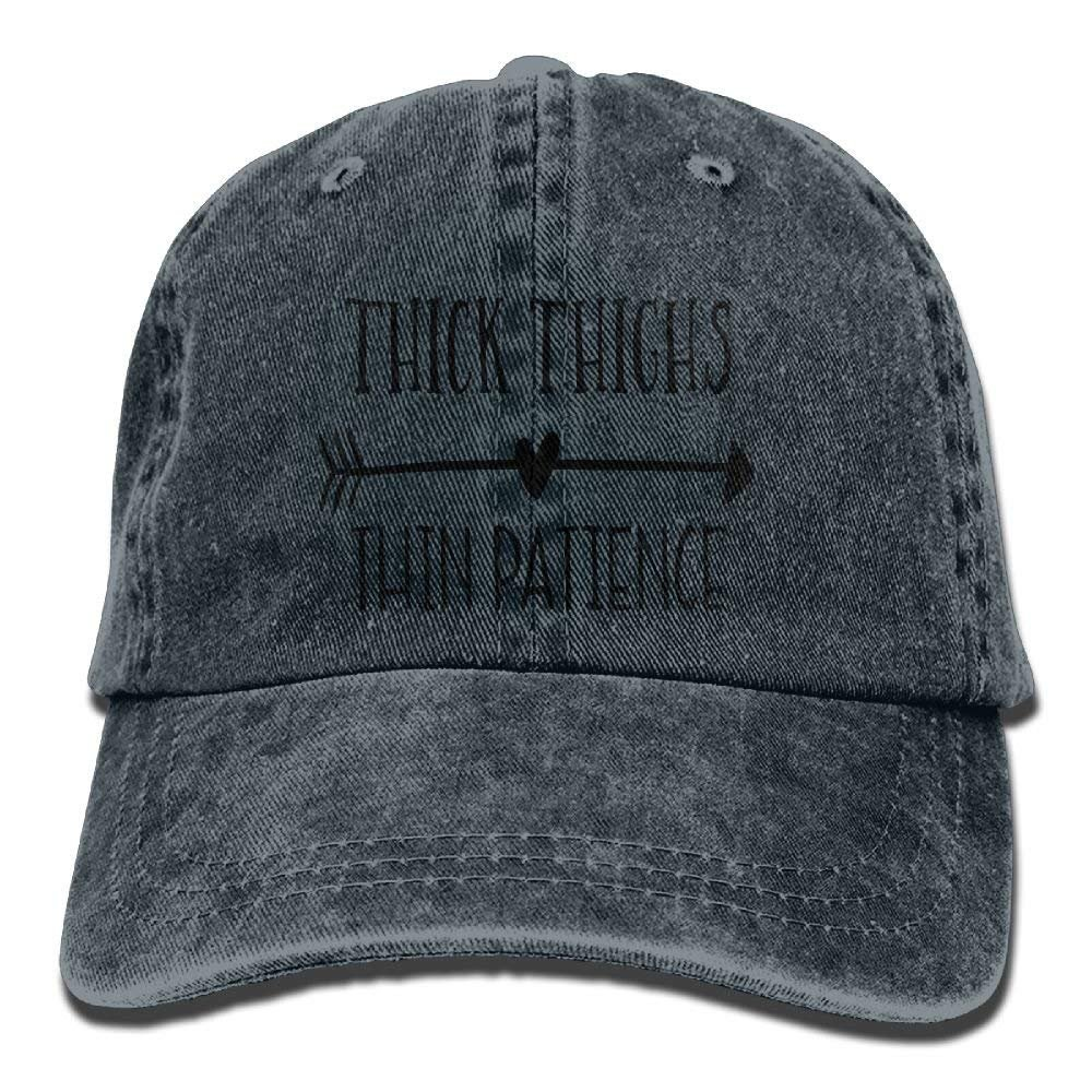 bowlife Thick Thighs Thin Patience Unisex Denim Baseball Cap Adjustable Hats