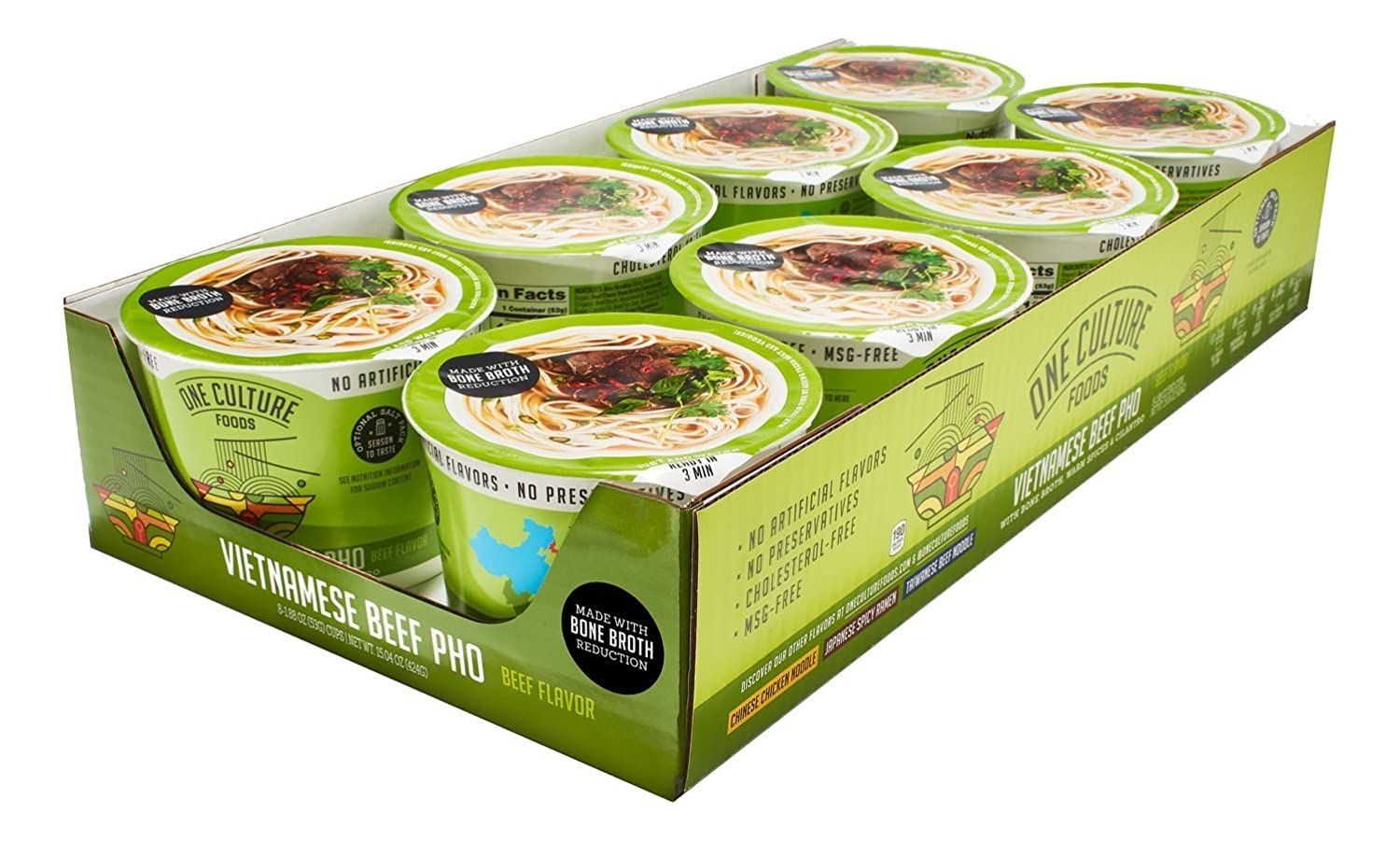 One Culture Foods Bone Broth Instant Cup Noodles, Vietnamese Beef Pho -  Natural -