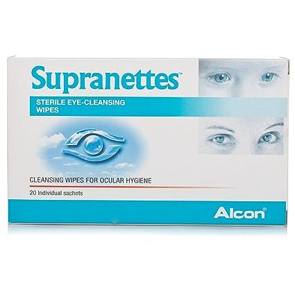 20 toallitas de limpieza ocular estéril en sobres (Pack de 2 unidades) de Supranettes