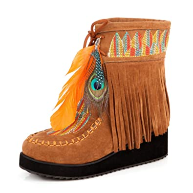 MAIERNISI JESSI Womens Suede Wedge Embroidered Ankle Short Boots Indian Style Feather Tassels Fleece Lined Booties on Sale