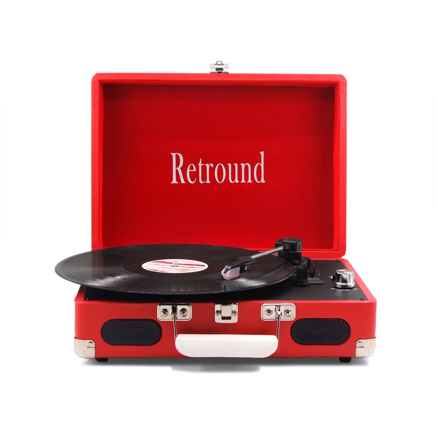 Portable 3 Speed Stereo Suitcase Record Player with USB Recording (red) Promotion:buy turntable to send needle (SW196REC-BL)