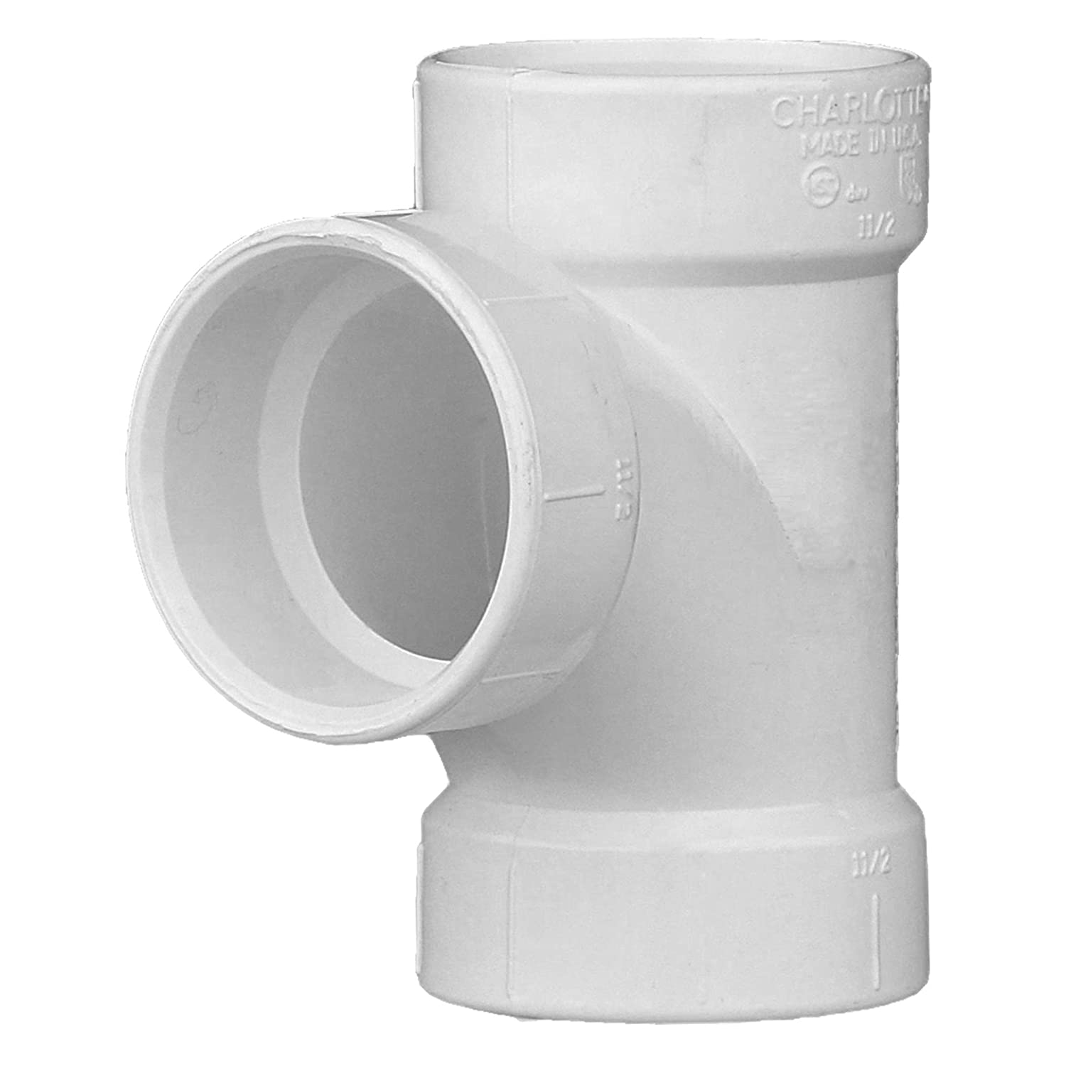 Drain, Waste and Vent Durable High Tensile and Sound Deadening for Home or Industrial Use Single Unit Schedule 40 PVC DWV Charlotte Pipe 1-1//2 Sanitary Tee Pipe Fitting Easy to Install