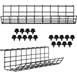 Under Desk Cable Management Tray - Under Desk Cable Organizers for Wire Management. Desk Cable Tray for Office and Home. Perf
