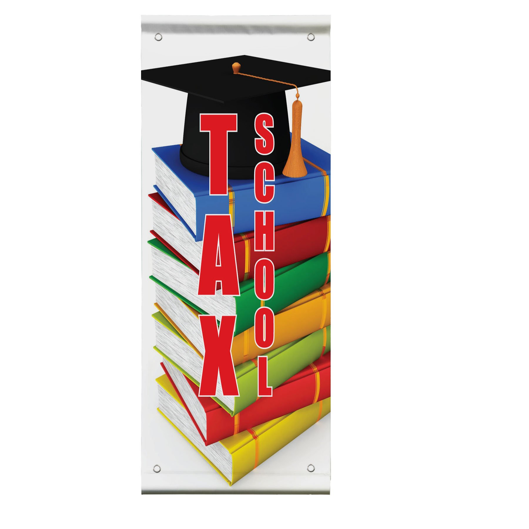 Tax school Double Sided Vertical Pole Banner Sign 36 in x 72 in