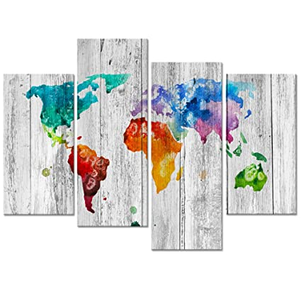 Amazon visual art decor vintage splash world map wall art visual art decor vintage splash world map wall art abstract map painting poster canvas prints home gumiabroncs Gallery