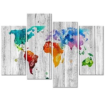 Amazon.com: Visual Art Decor Vintage Splash World Map Wall Art ...