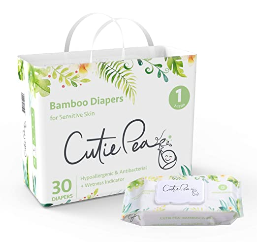 Eco-Friendly Bamboo Diapers & Wipes Bundle by Cutie Pea (90 Diapers + 225 Wipes). Disposable, Super Soft, Biodegradable, Hypoallergenic, Fragrance Free with Wetness Indicator (Size 1: 7-17 lbs)