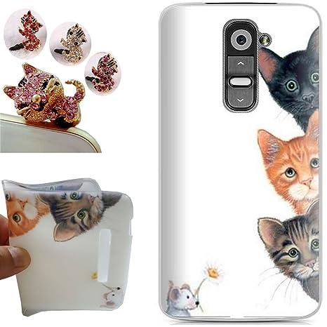 LG G2 funda - CatStyle LG G2 Carcasa,Suave TPU protectora de Silicona de Gel Funda Tapa Case Cover para LG G2 (Tres gatos) + 1 x Color aleatorio ...