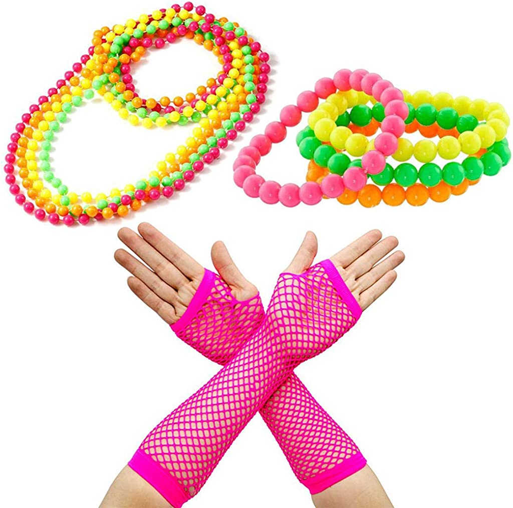 80/'s 4 x Neon Beads Necklace Womens Ladies Fancy Dress Costume Accessory