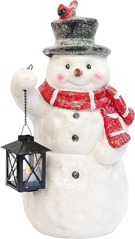 Mark Feldstein Associates Snowman With Lantern Led Light Up 17 Inch Resin Stone Door Greeter Figurine Sparkle Home Kitchen