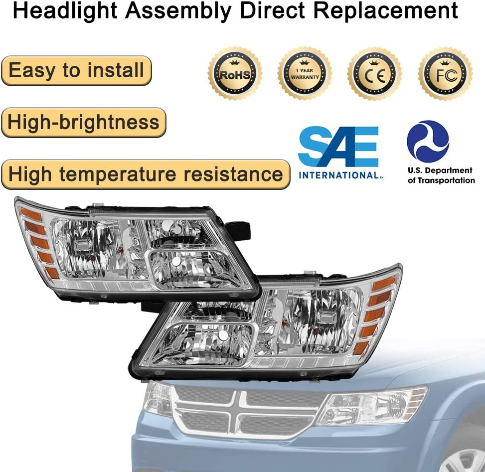 Headlight Assembly for 2009-2018 Dodge Journey Chrome Housing Headlamp Replacement with Amber Reflector Front Driving Light Passenger and Driver Side chrome