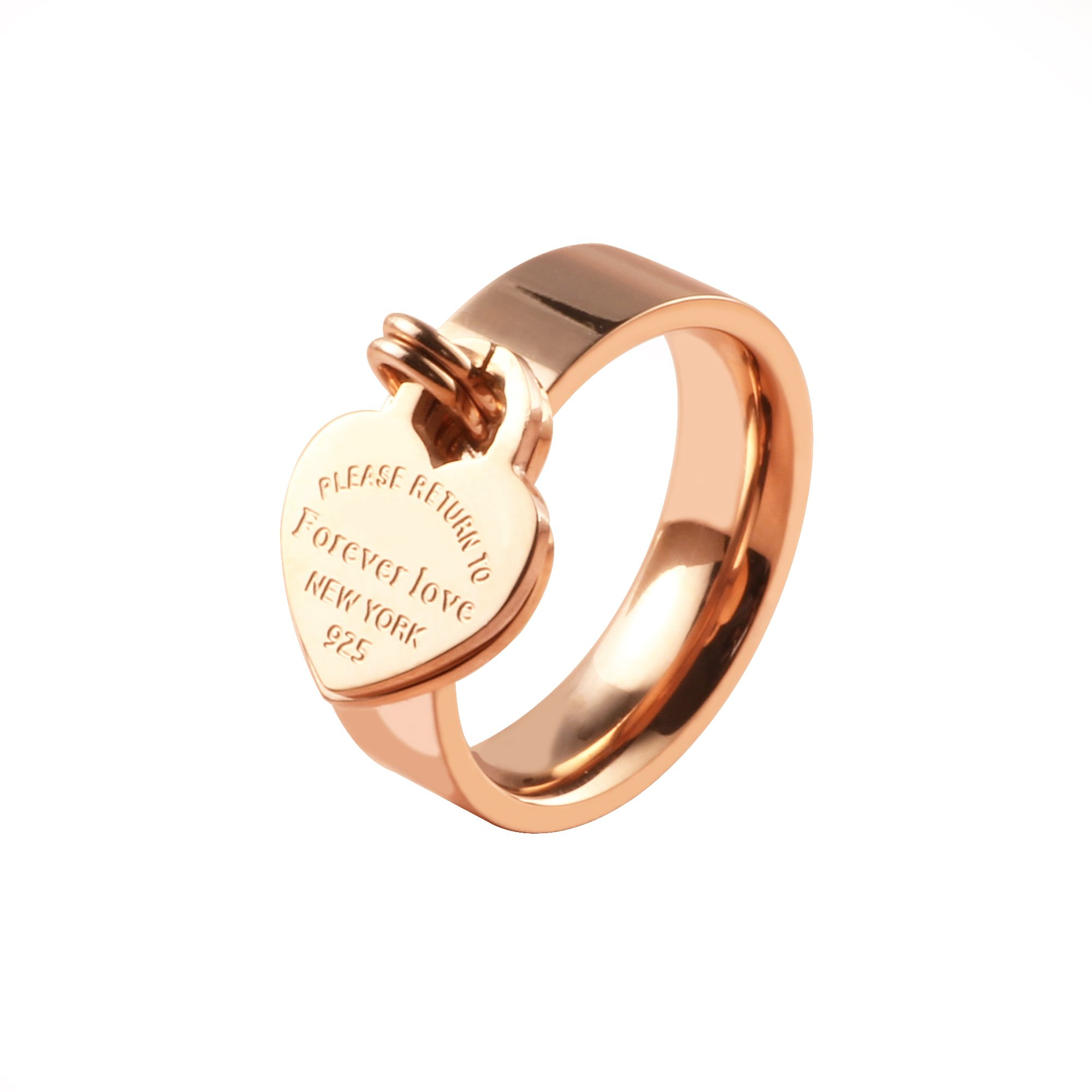 JINHUI❤Valentine's Day Jewelry Rose Gold Ring Forever Love Ring With Engraved Heart Charm Jewelry Gift For Women 7#