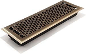 Accord AMFRABMA414 Manhattan Floor Register, 4-Inch x 14-Inch(Duct Opening Measurements), Antique Brass