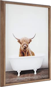 Kate and Laurel Blake Highland Cow in Tub Framed Printed Glass Art by Amy Peterson, 18x24 Dark Gold, Beautiful Modern Glass Wall Art for Home