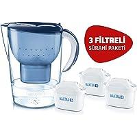 BRITA Marella XL Akıllı Sürahi, Mavi - Musluk suyundaki kireç, klor gibi suyun tadını ve kokusunu bozan maddeleri azaltır, 3 MAXTRA+ filtreli BRITA başlangıç paketi