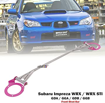 Front Race Strut Tower Brace Bar Pink FITS Subaru Impreza WRX//STi 02-07