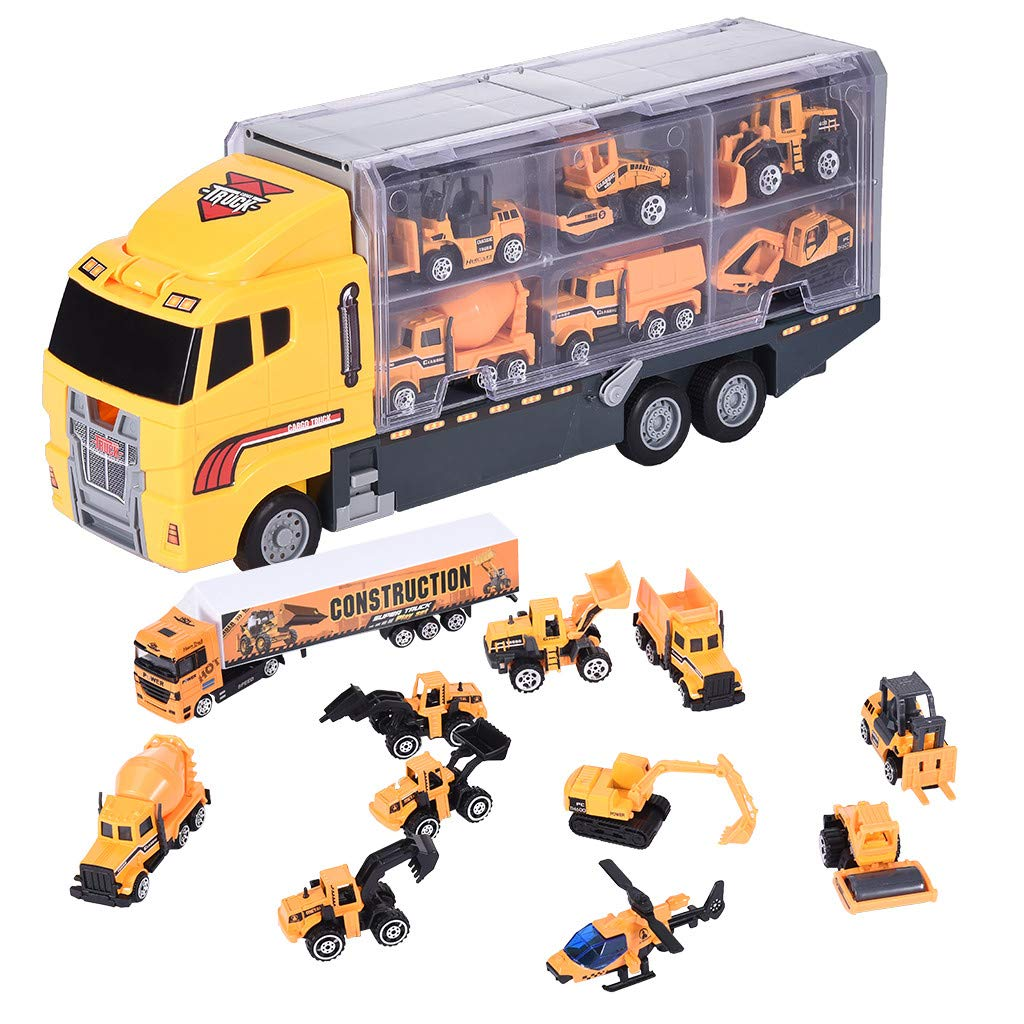 Ama-store 12PC Truck Model Set, Kids Construction Toys, Play Vehicles Toy Construction Vehicles Toddlers Toys Mini Car Toys Set Die Cast Engineering Trucks Friction Powered Push Truck Toys