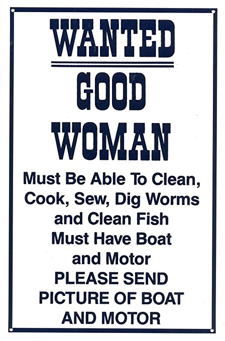 285563b4bf Wanted! Fisherman Looking For Good Woman Comical Advert Tin Sign   Amazon.co.uk  Kitchen   Home