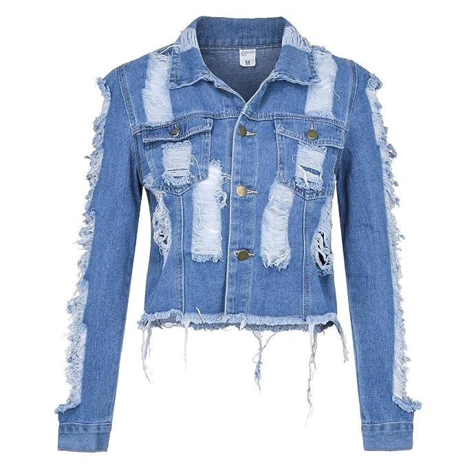 eadb3232014dd Highpot Women s Ripped Broken Denim Jacket Button Jean Boyfriend Jacket  Coats (S