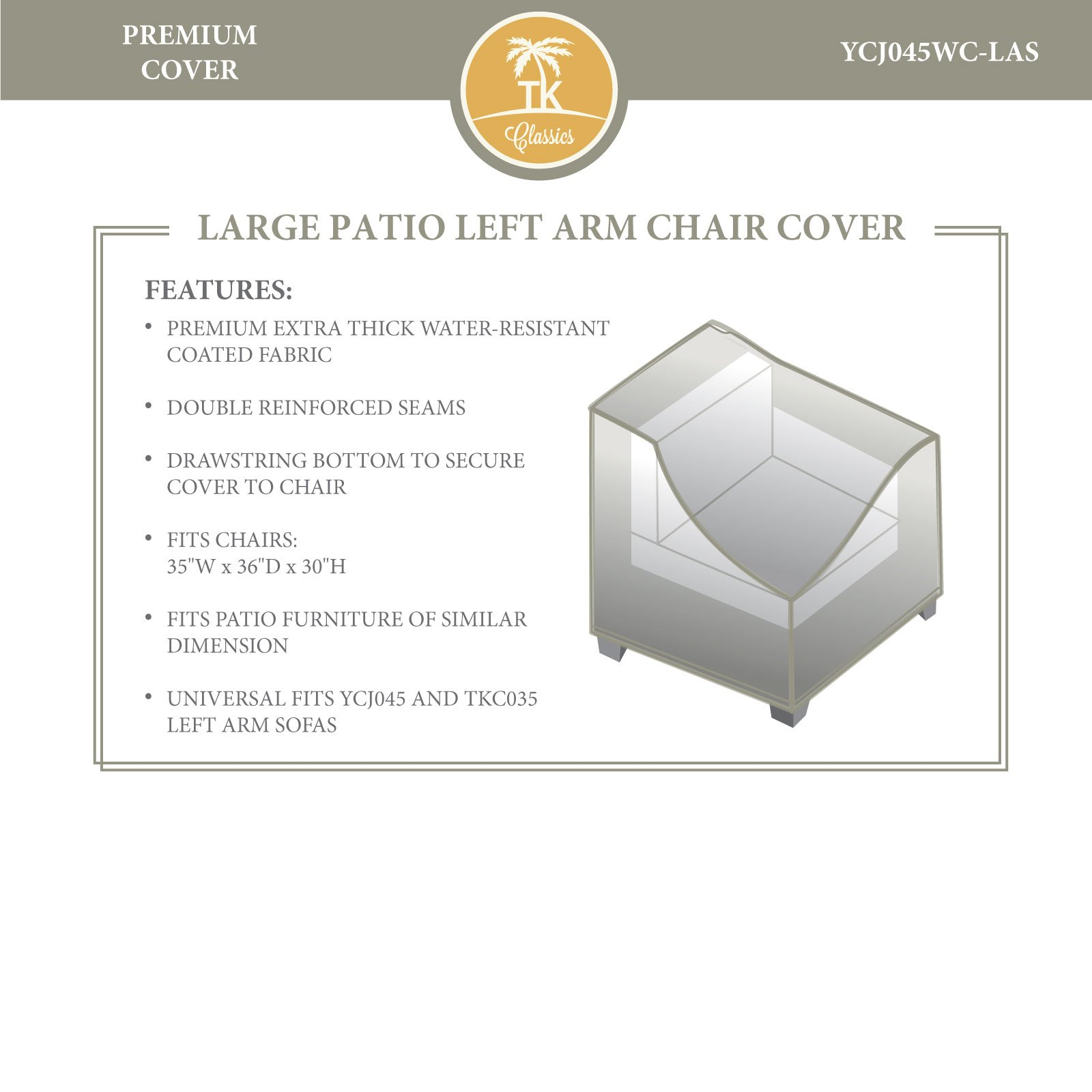 OKSLO Bermuda left arm sofa outdoor protective cover