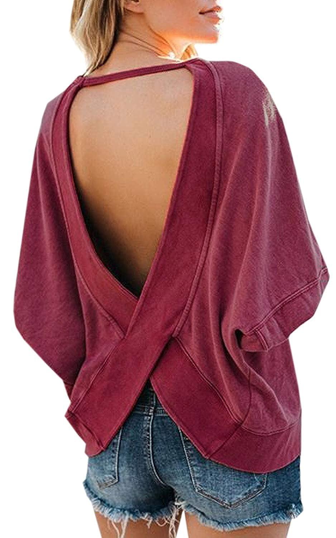 Helury Women Cross Backless Pullover Long Sleeve Open Back Sweatshirt Blouse Top