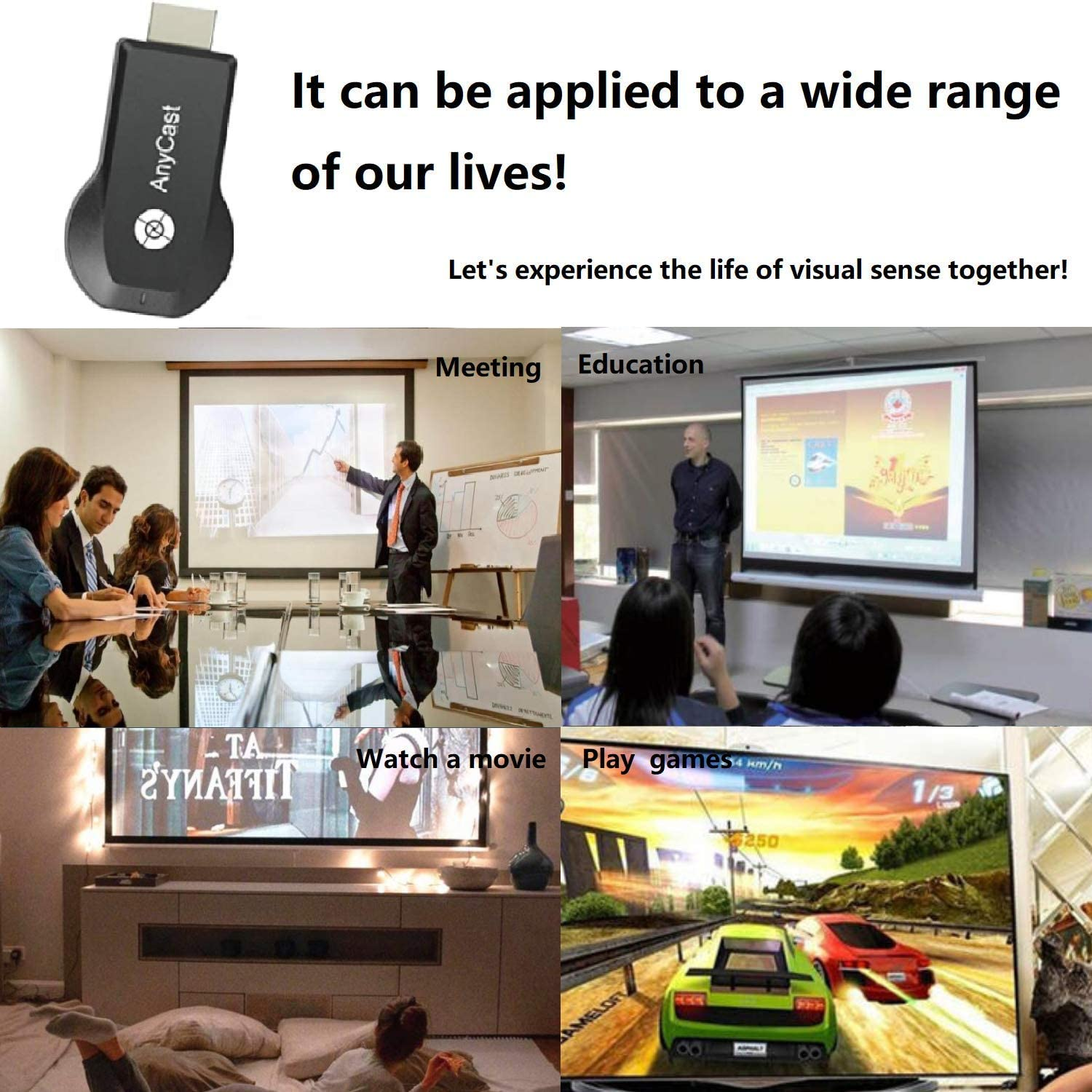 iOS//Android//PC//Tablet//Windows//Mac OS to HDTV//Monitor//Projector DLNA Support Miracast Miracast Dongle for TV,Upgraded Toneseas Streaming Receiver,MacBook Laptop Airplay Wireless 4K/&1080P HDMI Wireless Display Adapter