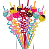Reusable Donut Straws - Plastic Drinking Straws for Donut Themed Party Favors Birthday Party Decorations, 24 Pack (Donut)