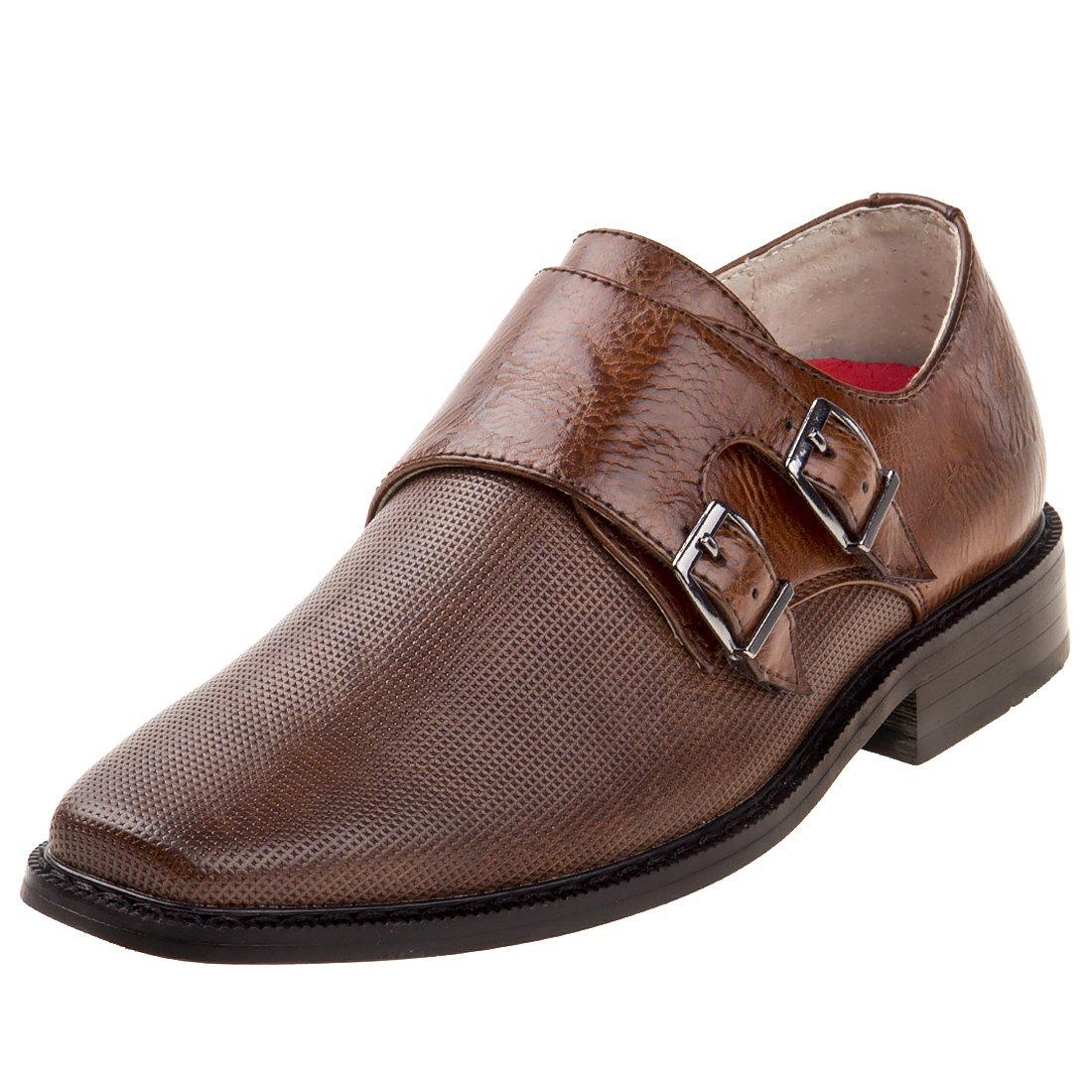 Joseph Allen Boy's Dressy Textured Shoe with Double Buckle, Brown, 7 M US Big Kid'