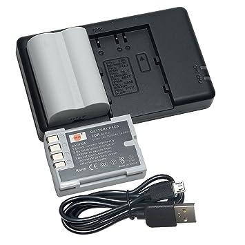 DSTE 2PCS PS-BLM5 BLM-5 BLM5(2500mAh/7.4V) Batería Cargador Compatible para Olympus E1,E5,E3,E300,E330,E500,E510,E520,C-8080,C-7070,C-5060 Cámara