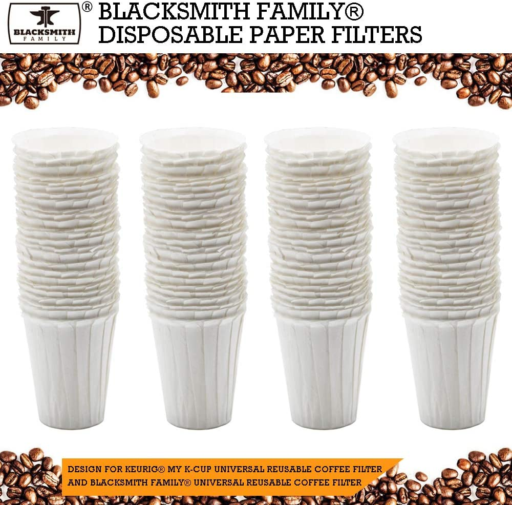 Disposable Coffee Filters Paper Filters Compatible with BLACKSMITH FAMILY Reusable K-Cup Coffee Filter and Keurig MY K-Cup 2.0 Reusable Coffee Filter,100 Count