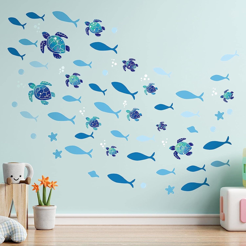 2 Sets Vinyl Sea Turtles Wall Stickers Blue Fish DIY Wall Decals Ocean Bubbles Wall Stickers Underwater Life Wall Decor for Bathroom Toilet Bedroom Nursery Room Children Room Living Room