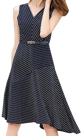 Asymmetrisches Mit A Nadelstreifen Linien Kleid Erdbeerloft Damen eW2b9IHYED