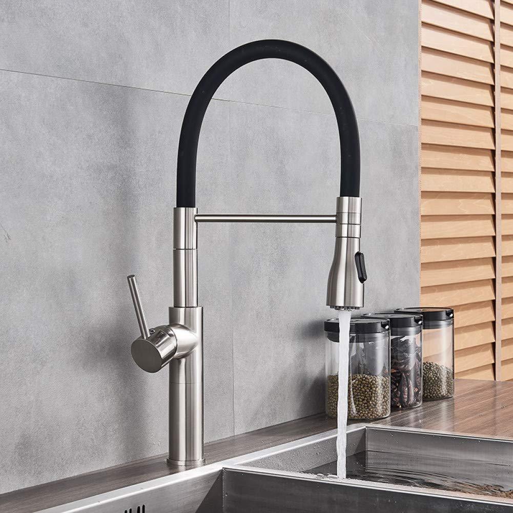 KLYBFN Küchenarmatur Aus Gebürstetem Nickel Ausziehbarer 2-Funktions-Schalter-Schwenkauslauf-Mischbatterie Einhand-Deckmontage Warm Kalt