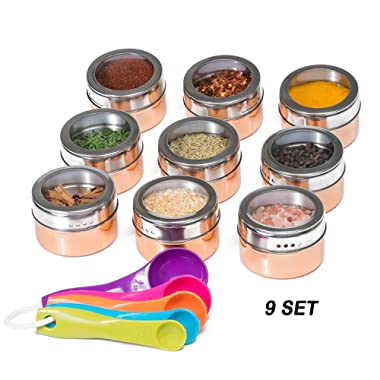 Nellam Stainless Steel Magnetic Spice Jars - Bonus Measuring Spoon Set - Airtight Kitchen Storage Containers - Stack on Fridge to Save Counter & Cupboard Space - 9pc Organizers in Gold