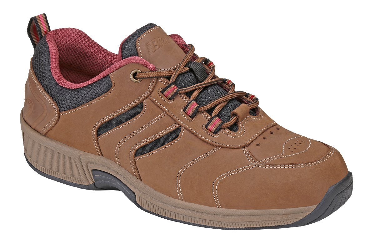 Orthofeet Sonoma Comfort Wide Orthopedic Diabetic Outdoor Shoes For Women Brown Leather 9.5 W US
