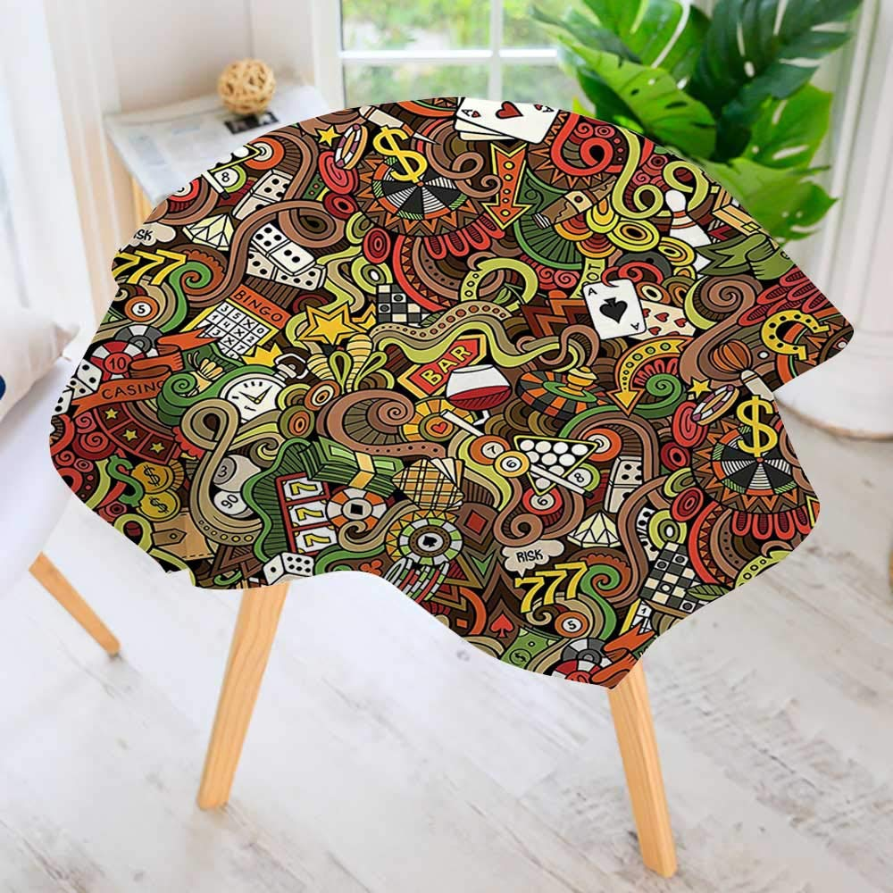 aolankaili Easy-Care Cloth Tablecloth Round-Doodles Style Art Bingo Excitement Checkers King Tambourine Vegas Great for Buffet Table, Parties, Holiday Dinner & More 63'' Round