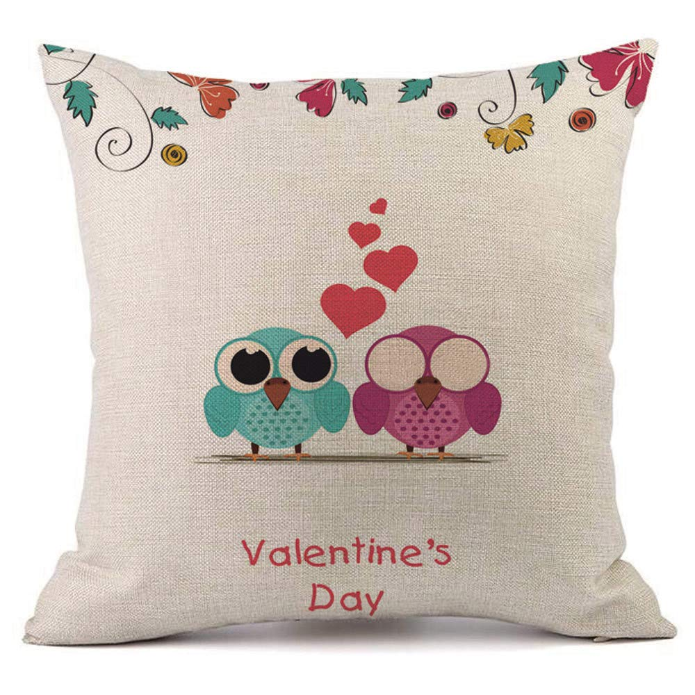 Mome Cushion Cover 1 Piece 18x18 Valentine's Decoration Cotton Linen Decor Outdoor Square Throw Cushion Cover Cushion Case for Living Room Sofa Bedroom Car 18 x 18 Inch 45 x 45 cm (G)