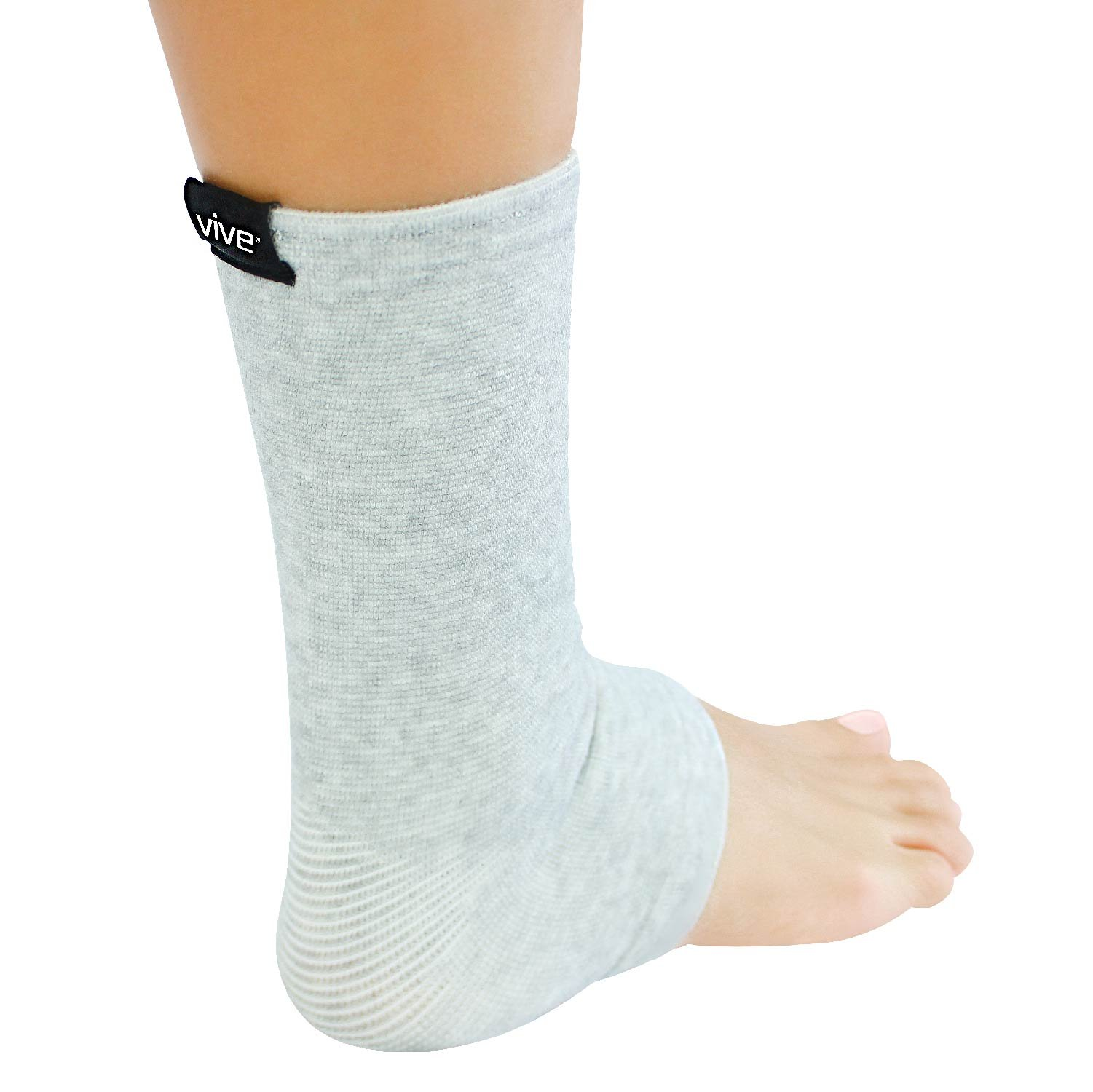 Ankle Sleeve by Vive - Bamboo Charcoal Compression Ankle Support for Running, Soccer, Basketball, Football, Arthritis, Sprains and Strains for Men and Woman (Gray, Small/Medium)