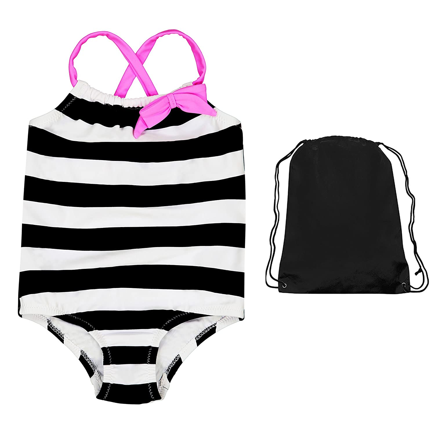 Kiko & Max UPF 50+ Sun Protection One Piece Swimsuit Swimwear and Drawstring Bag