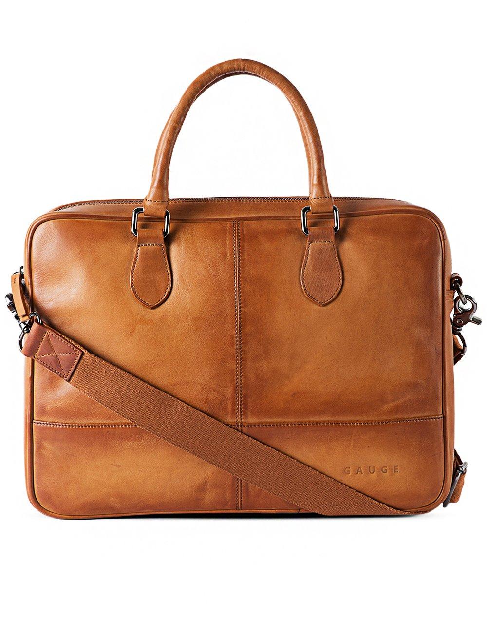 Gauge 15 Inch Hand Padded Leather Laptop Bag Messenger Bag Office Briefcase College Bag Satchel for Men (Tan)