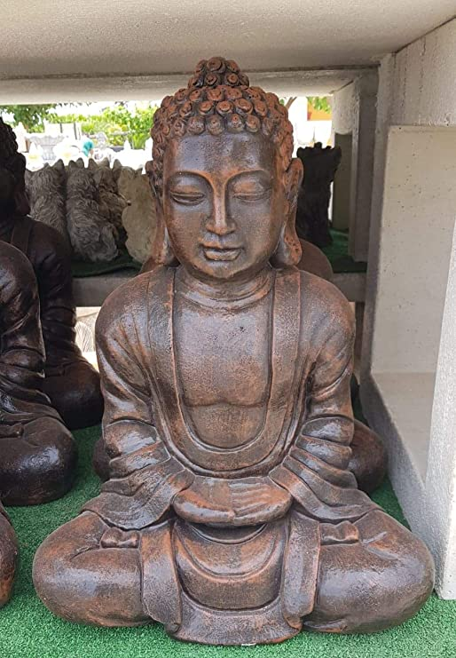 AnaParra Estatua Buda Tissa delÉxito Figura Decorativa para Jardín o Exterior Hecho de Piedra Artificial | Figura Buda 57cm. Color Teja: Amazon.es: Jardín