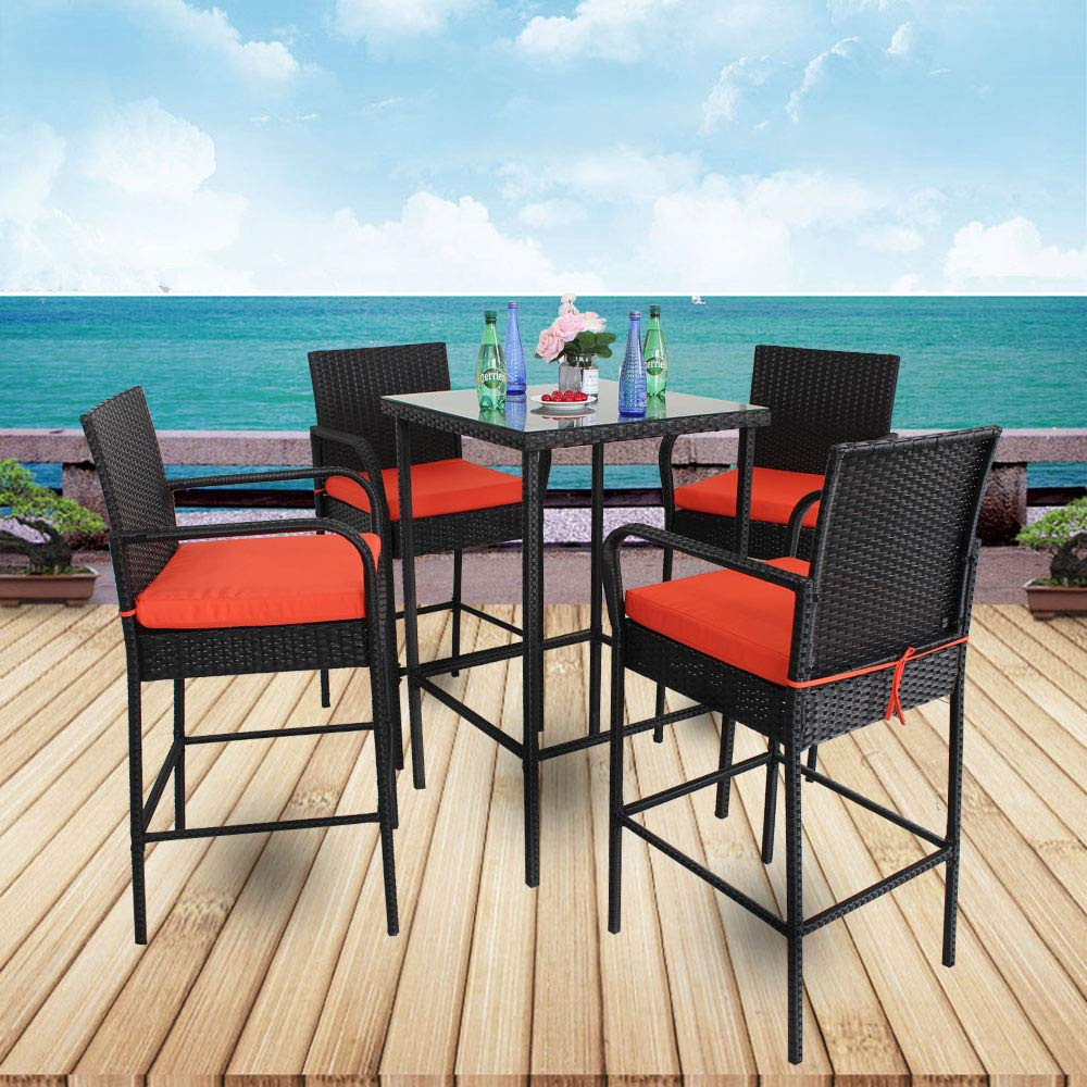 Leaptime Patio Table Chairs Garden Bar Furniture Christmas Party Furniture 5pcs Black Rattan Bar Table and Stools Set Patio Outdoor Wicker Dining Set Easy Assembly Orange Cushion