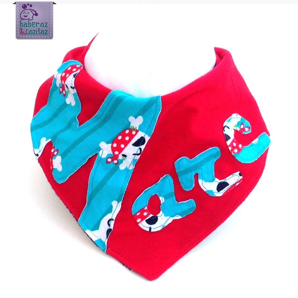Babero bandana personalizado con el nombre que quieras. Para bebé s, niñ os o adultos con necesidades especiales. P_69. ***Enví o gratuito a Españ a***
